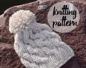 Cable Beanie Knitting Pattern, Chunky Twist Pom-Pom Hat / Knitting Project With Photos / Instant Download
