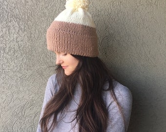 Knitted Pom Pom Beanie / Brown and Cream, Cozy Double-Brim Winter Hat / Wool Yarn