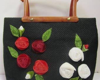 Vintage Rosette Rosebud Black Green Woven Tweed Handbag Purse Circa 1950's 1960's Tortoise Shell Handles