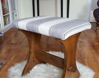 French Country Stripe Upholstered Bench Seat