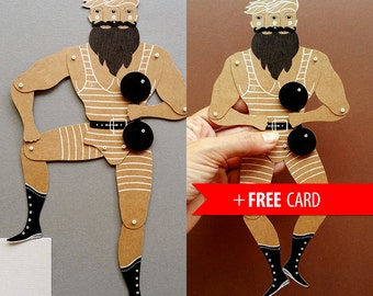Strongman circus freak articulated paper doll handmade greeting card whimsical puppet brothers gift birthday present boyfriend gift vintage