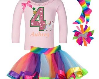 Unicorn 4th Birthday Shirt Rainbow Tutu Fairytale Star Magical Hair Bow Glitter Pink Unicorn Socks Long Sleeve Shirt Horse Pony Custom Name