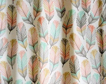 Horizon Feather,Coral, Blue, Gold, Woodland, Drapery Window Curtain Panels, Pair Fully Lined