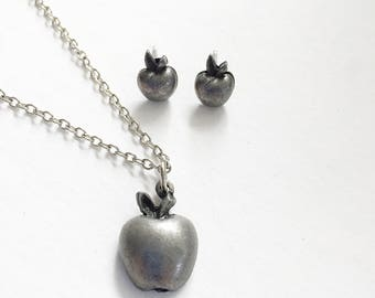 TORINO Pewter Apple Necklace And Earrings Vintage Set