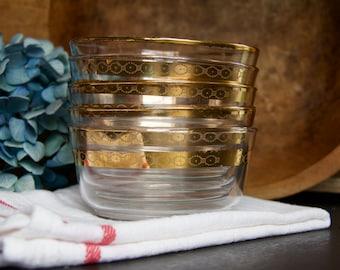 Vintage Libbey Victoria Pattern Gold Trim Custard Berry Fruit Bowls Set of 5
