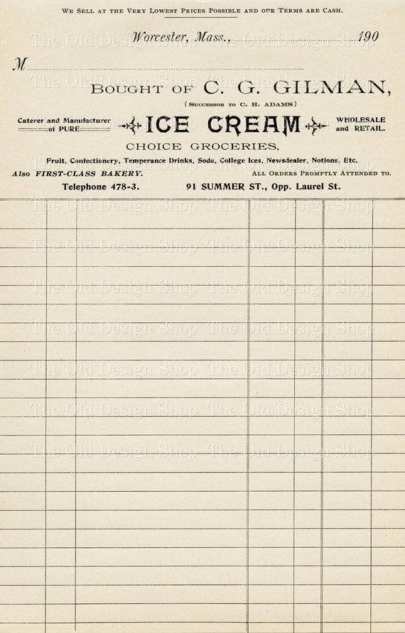 Vintage Accounting Ledger Page Printable Ephemera Gilman Ice Cream  Groceries Invoice Digital Download JPG  Printable Ledger Pages