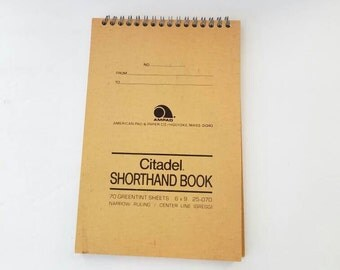 Citadel Shorthand Book Steno Notebook Spiral Notebook Greentint Notebook Ampad Notebook Secretarial Supplies 6x9