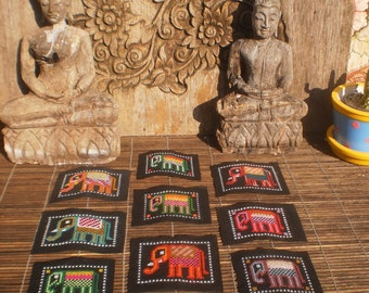 Hmong Hand Cross Stitch Elephant Textile,Set Of 9, Hand Needlework Patch, Hmong Textile,
