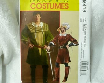 McCalls M 5413 Sewing Pattern, Historical costume, Mens Tunic, Full Shirt, Sm -XlgXL
