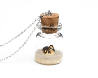 Duckling Bottle Necklace, Spring Terrarium Necklace, Baby Animal - miniature baby duckling inside a tiny glass bottle; 3cm tall, 16in chain