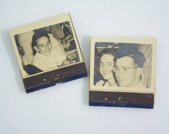 2 Real Photograph Black and White Photo Matchbooks LOT; Family, Lion Match Company