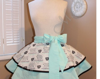 Coffee Print Accented With Mint Woman's Retro Half Apron With Tiered Skirt...Ready To Ship