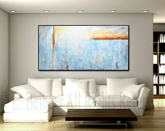 """Original 72"""" large painting abstract art 6ft huge white blue gray modern painting large artwork wall art XXL art big by L.Beiboer"""