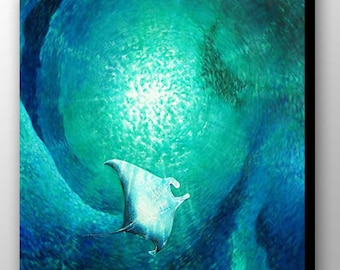 Manta Ray Painting | Sea Life Art | Manta Ray Art | Sea Creature | Stingray Art | Ocean Art | Under the Sea | Scuba Diving | Underwater