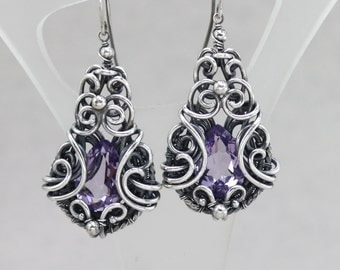 Antique Amethyst Earrings Antique Gemstone Earrings Sterling Silver Dangle Earrings Victorian Earrings Edwardian Earrings Natural Amethyst