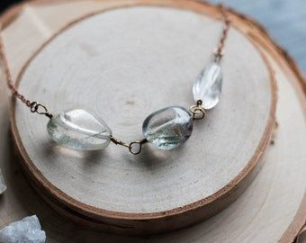 "SALE - Tumbled Lodlite Quartz Trio Necklace on a 20"" Antiqued Copper Colored Chain"