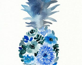 Blue Watercolor Flower Pineapple Painting, original watercolor, 8x10, inky blue, watercolor fruit, watercolor flowers, blue watercolors