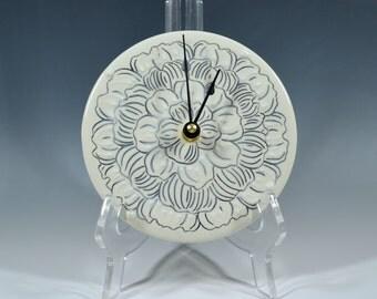 Small Porcelain Wall Clock peony pattern clock floral clock ceramic wall sculpture