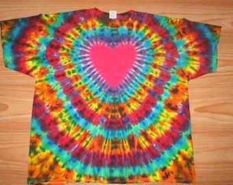 S M L Xl 2x 3x 4x 5x 6x Heart Tie Dye- Kids Adult Plus Size tie dye Dark Rainbow Explosion Heart Shirt