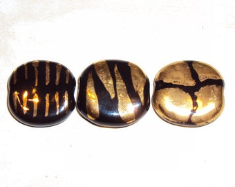 Kazuri Bead Ceramic, Clay, Ethnic, Single Fair Trade Bead from Africa 14k gold, black Animal Design