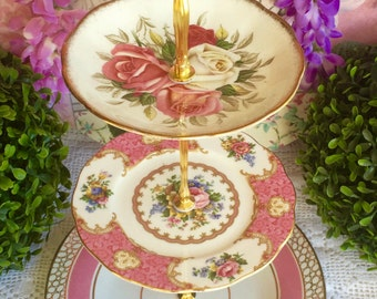 3 tier Pink Cake Stand Royal Albert Lady Carlyle and Queen Anne Sylvia