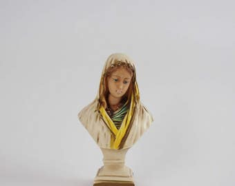 Vintage Chalkware Blessed Virgin Mary Pedestal Bust - Sorrowful Mother Statuary