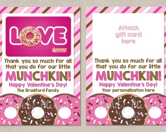 Dunkin Donuts Inspired Valentine's Day Teacher Appreciation Gift Teacher Thank You Note 5x7 Gift Card Holder Personalized DIY Printable Card