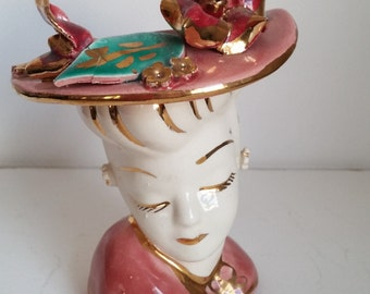 Pink Glamour Girl Head Vase