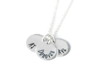 Three Name Hand Stamped Necklace - Custom Kids Name Necklace in Sterling Silver - 3 Charm Mommy Jewelry