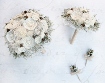 Woodland Elegance Wedding Bouquet Set // Winter, Bridal Bouquet Set, Natural Wedding Flowers, Cream Bridal Flowers, Keepsake Bouquets