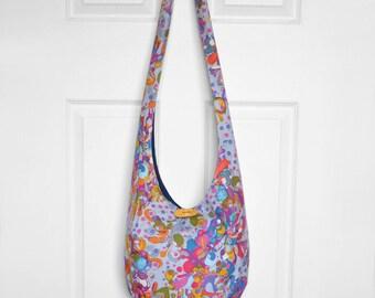 Hobo Bag Boho Bag Hippie Purse Crossbody Bag Sling Bag Hippie Bag Bohemian Purse Hobo Purse Slouchy Bag Abstract Floral Polka Dot Hobo Sling
