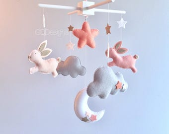 Baby mobile - cloud mobile - moon clouds mobile - blush and gray mobile - bunny mobile - rabbit mobile