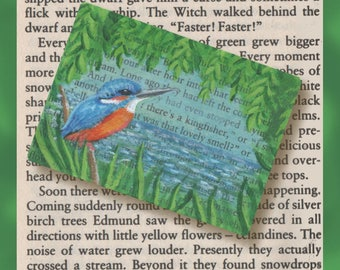 Kingfisher in Narnia Original Art ACEO - A tiny painting of a kingfisher bird on book page from 'The Lion, The Witch and The Wardrobe'