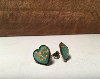 Mint with Gold Foil Heart Shaped Stud Earrings