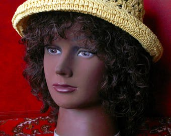 Crocheted Natural Fiber Women's Rolled Brim Sun Hat Sunny Day Protection Beach Resort Vacation Outdoor Garden Party Woven Raffia Straw Hat