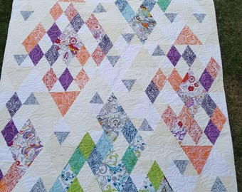 Large Diamond Lap Quilt, Modern Quilt, Handmade Quilt, Orange Purple Green and Blue Quilt, Homemade Quilt