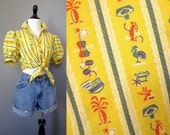 Vintage 50s pin up puffy sleeve crop top with novelty print sombrero guitar rooster yellow striped tie blouse size S or M