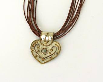 Boho Gypsy Necklace, Gipsy Heart Pendant, Long Leather Multi Strand Necklace