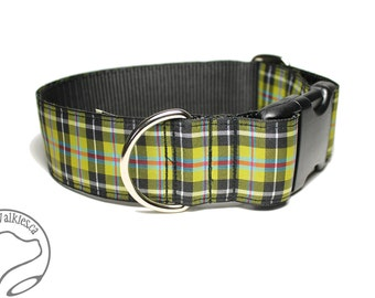 "Cornish National Tartan Dog Collar - 1.5"" (38mm) Wide - Gold and Black Plaid - Martingale or Side Release -Choice of collar style and size"