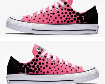 Converse Hand Painted Pink with Black Polka Dots