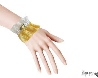 W5 Sweet Lolita Yellow and Yellow Rose Wrist Cuffs