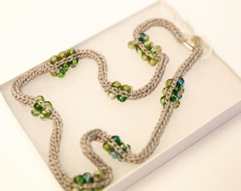 Silky Silver Knitted Beaded Necklace with Green Czech Beads