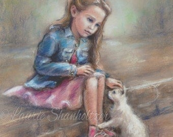 "Girls Wall art print, kitten and girl, pet rescue, Children's Art,  ""Compassion' by Laurie Shanholtzer artist Canvas or art paper print,"