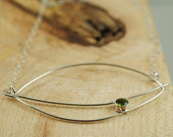 Organic Argentium Silver Leaf and Peridot Necklace