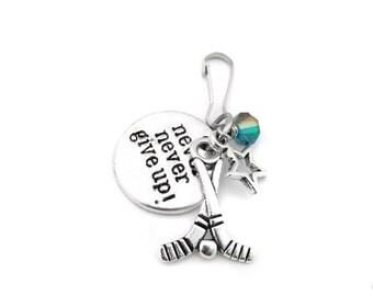 Hockey Gifts, Hockey Zipper Pull, Hockey Team Gift, Hockey Bag Charm, Hockey Player Gift, Girls Hockey Gift