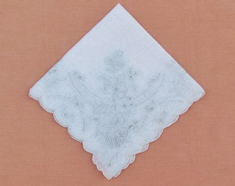 Vintage handkerchief with Madeira embroidery, elaborately embroidered white wedding hanky