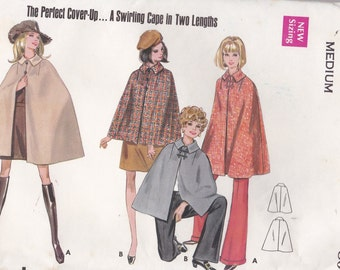 1970s Sewing Pattern - Butterick 5444 Cape in four lengths Size MEDIUM Uncut, Factory Folded