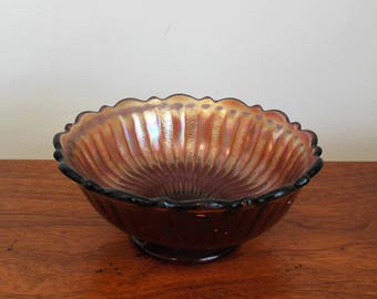 Fenton Stippled Rays Amethyst Berry Bowl Antique Iridescent Small Dish on Pedestal