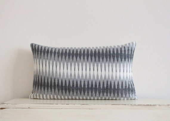 "Diamond Ikat pillow cushion cover 12"" x 20"" in grey and cream"
