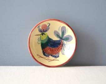 Vintage Hand Painted Ceramic Pin Dish - Bird Design